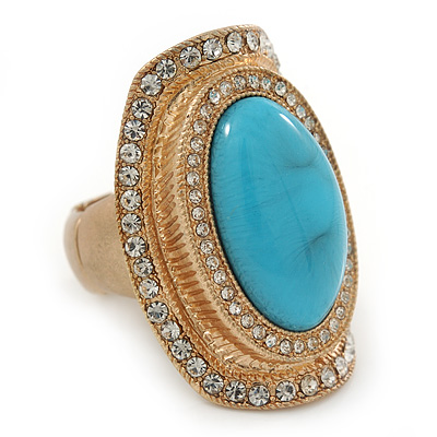 Turquoise Style Resin, Diamante Oval Flex Ring In Brushed Gold Finish - 37mm Across - Size 7/8
