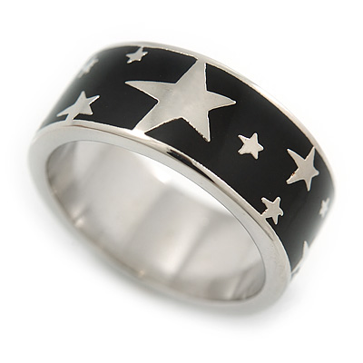 Black Enamel 'Stars' Band Ring In Rhodium Plaiting - Size 8