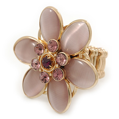 Statement Lilac Glass Bead, Crystal Flower Flex Ring In Gold Plating - 40mm Across - Size7/8
