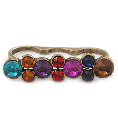 Vintage Multicoloured Cluster Crystal Bead Three Finger Ring In Bronze Metal - 60mm Width - main view