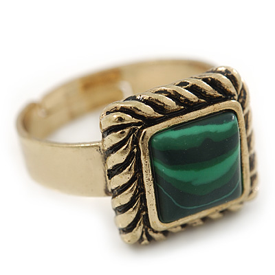 Vintage Small Square Green Marble Ring In Burnt Gold - 13mm Width - Adjustable - Size 8/9