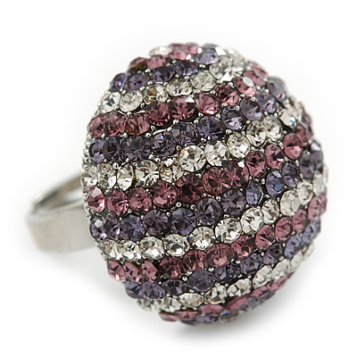 Rhodium Plated Swarovski Crystal 'Violetta' Dome Cocktail Ring - 25mm Diameter - Adjustable