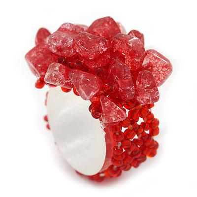 Red Semiprecious Chip Cluster Flex Ring