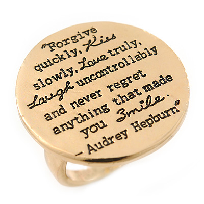Gold Tone Audrey Hepburn Quote Round Medallion Statement Ring - Size 8, 30mm across - main view