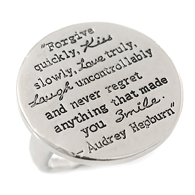 Silver Tone Audrey Hepburn Quote Round Medallion Statement Ring, 30mm across - main view