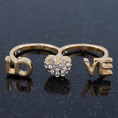 Gold Plated Double Finger Diamante 'Love & Heart' Ring - Size 7&8 - main view