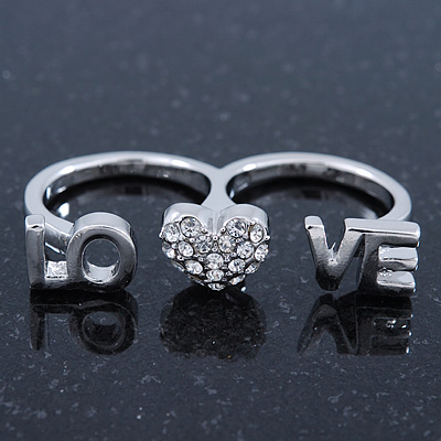 Rhodium Plated Double Finger Diamante 'Love & Heart' Ring - Size 7&8 - main view