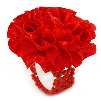 Red Silk & Glass Bead Floral Flex Ring - 40mm Diameter