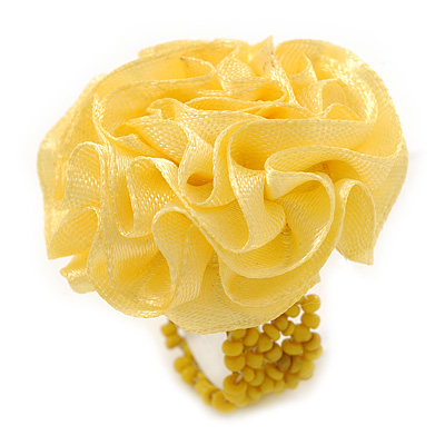Bright Yellow Silk & Glass Bead Floral Flex Ring - 40mm Diameter