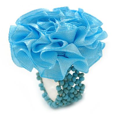Light Blue Silk & Glass Bead Floral Flex Ring - 40mm Diameter