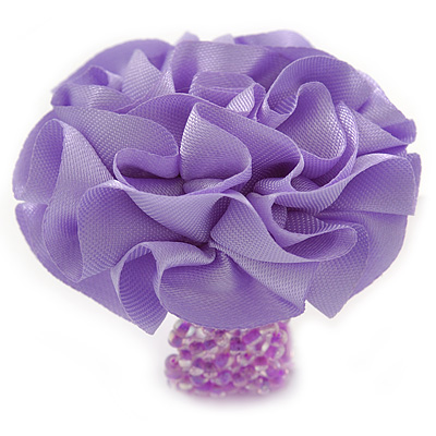 Lavender Silk & Glass Bead Floral Flex Ring - 40mm Diameter