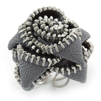 Large Grey Zipper Fabric Rose Ring With Silver Tone Wire Band - 45mm Diameter - 7/8 Adjustable
