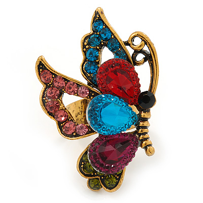 Multicoloured Crystal Butterfly Ring In Antique Gold Metal - Adjustable - Size 7/8