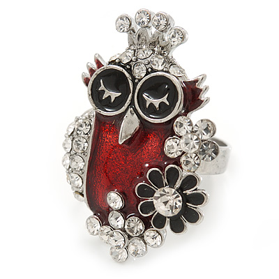 Black/ Red Enamel, Crystal Owl Ring In Silver Tone - Size 7/8 - Adjustable
