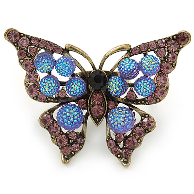 Large Purple Crystal Butterfly Ring In Antique Gold Metal - Adjustable - Size 7/8