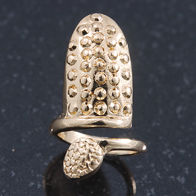 Gold Plated Textured Snake Nail Ring