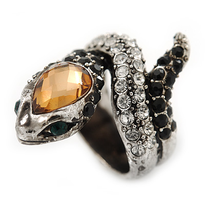 Vintage Inspired Austrian Clear, Black, Citrine Crystal 'Snake' Ring In Burn Silver Tone - Size 7
