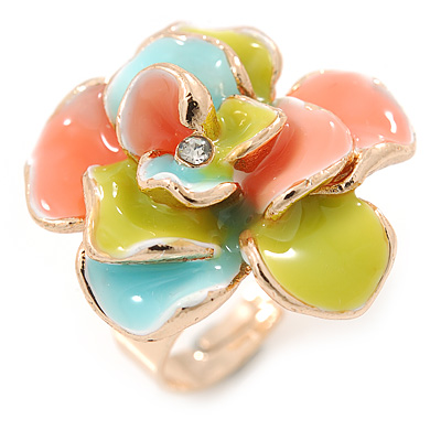 Gold Plated Pastel Coloured Enamel Flower Ring (Light Blue/ Coral/ Light Green) - Size 8/9- Adjustable
