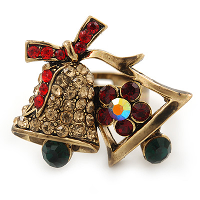 Christmas 'Jingle Bells' Red, Green, Topaz Coloured Crystal, Enamel Ring In Antique Gold Plating - 30mm Across - Size 7/8