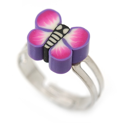 Children's/ Teen's / Kid's Purple Fimo Butterfly Ring In Silver Tone - Adjustable - main view