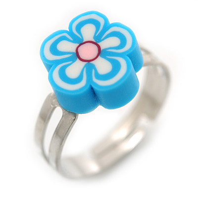 Children's/ Teen's / Kid's Light Blue Fimo Flower Ring In Silver Tone - Adjustable