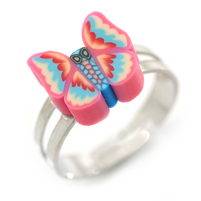 Children's/ Teen's / Kid's Pink, Blue Fimo Butterfly Ring In Silver Tone - Adjustable - main view