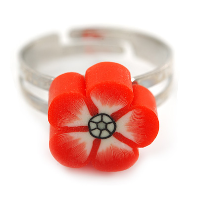 Children's/ Teen's / Kid's Red Fimo Flower Ring In Silver Tone - Adjustable