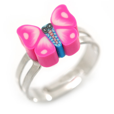 Children's/ Teen's / Kid's Deep Pink Fimo Butterfly Ring In Silver Tone - Adjustable - main view