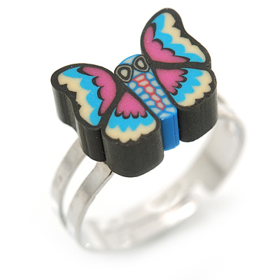 Children's/ Teen's / Kid's Black Fimo Butterfly Ring In Silver Tone - Adjustable