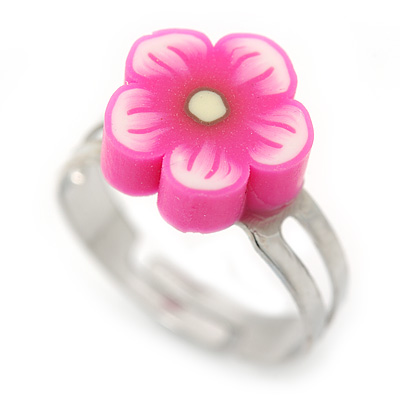 Children's/ Teen's / Kid's Pink Fimo Flower Ring In Silver Tone - Adjustable