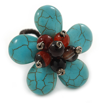 Turquoise With Semiprecious Stone 'Daisy' Floral Wired Ring - 35mm Diameter - 7/8 Adjustable