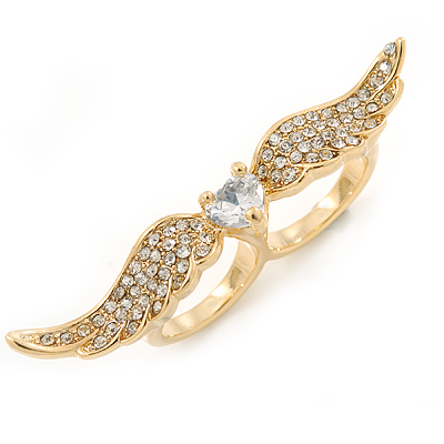 Gold Plated CZ Heart, Clear Crystal Two Finger Wings Ring - Size 7&6