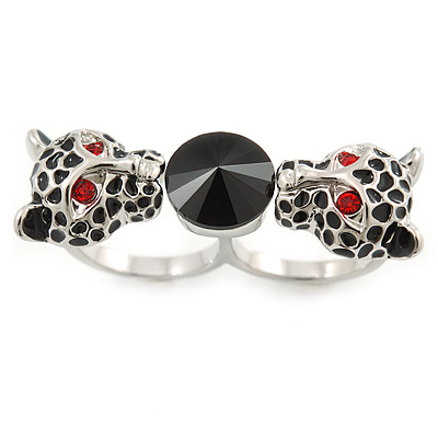 Black Enamel, Crystal Two Head Jaguar Double Finger Ring In Rhodium Plated Metal - (Size 7/8) - 45mm Width - main view