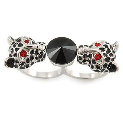 Black Enamel, Crystal Two Head Jaguar Double Finger Ring In Rhodium Plated Metal - (Size 7/8) - 45mm Width