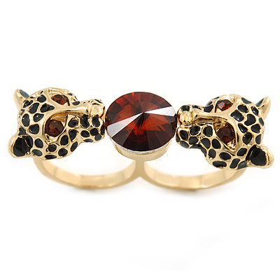 Black Enamel, Crystal Two Head Jaguar Double Finger Ring In Gold Plated Metal - (Size 7/8) - 45mm Width - main view