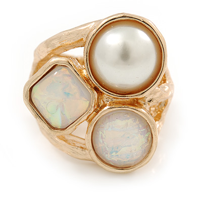 Chunky Pearl Bead Wide Band Flex Ring In Gold Tone - Size 7/8 - Adjustable - main view