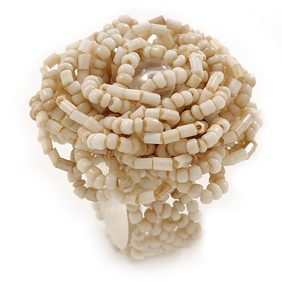 Antique White Glass Bead Flower Stretch Ring - 40mm Diameter