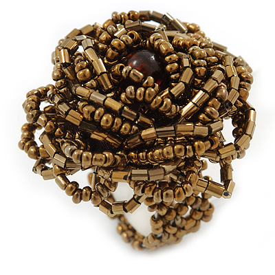 Bronze Coloured Glass Bead Flower Stretch Ring - 40mm Diameter