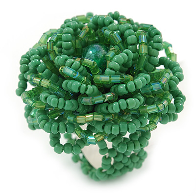 Apple Green Glass Bead Flower Stretch Ring - 40mm Diameter