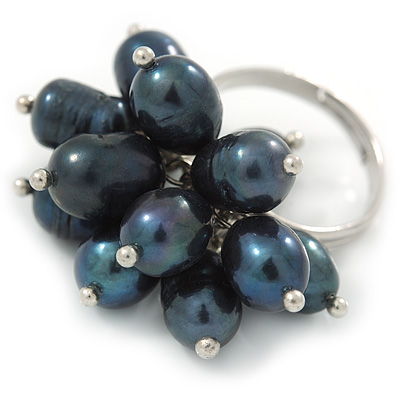 Peacock Coloured Freshwater Pearl Cluster Ring In Silver Tone - Adjustable