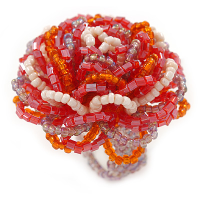 White/ Orange/ Red/ Lavender Glass Bead Flower Stretch Ring