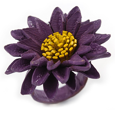 Purple/ Yellow Leather Layered Daisy Flower Ring - 40mm D - Adjustable