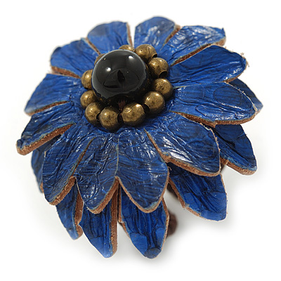 Dark Blue Leather Layered With Glass Bead Daisy Flower Wire Band Ring - Adjustable - 40mm D