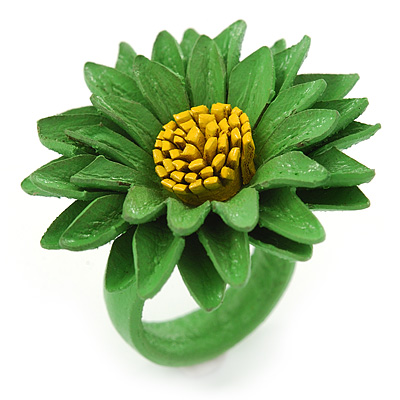 Grass Green/ Yellow Leather Layered Daisy Flower Ring - 40mm D - Adjustable - main view