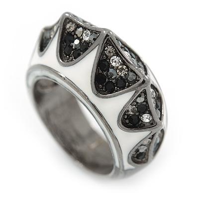 Statement Dome Black/ Grey/ Clear White Enamel Band Ring In Gun Metal