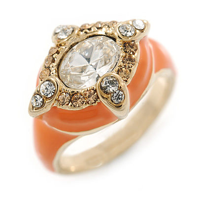 Stunning Clear/ Citrine Crystal Orange Enamel Ring
