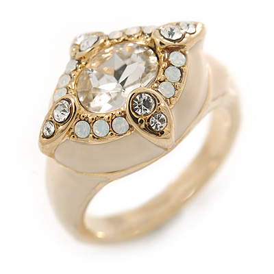 Stunning Clear/ Milky White Crystal Light Cream Enamel Ring