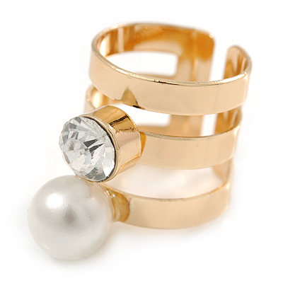 Wide Gold Plated Pearl, Crystal Band Ring - Size 7