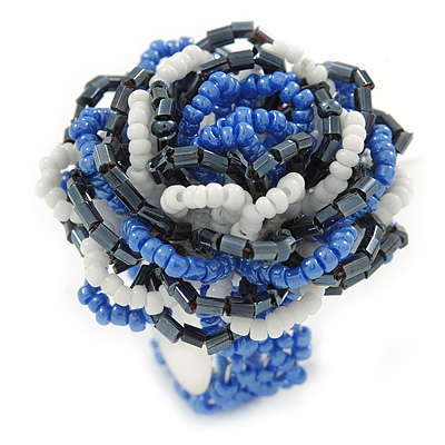Blue/ White/ Black Glass Bead Flower Stretch Ring - 35mm - main view