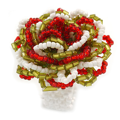 Olive/ Red/ White Glass Bead Flower Stretch Ring - 35mm Diameter - main view